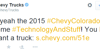 Chevy technology and stuff tweet