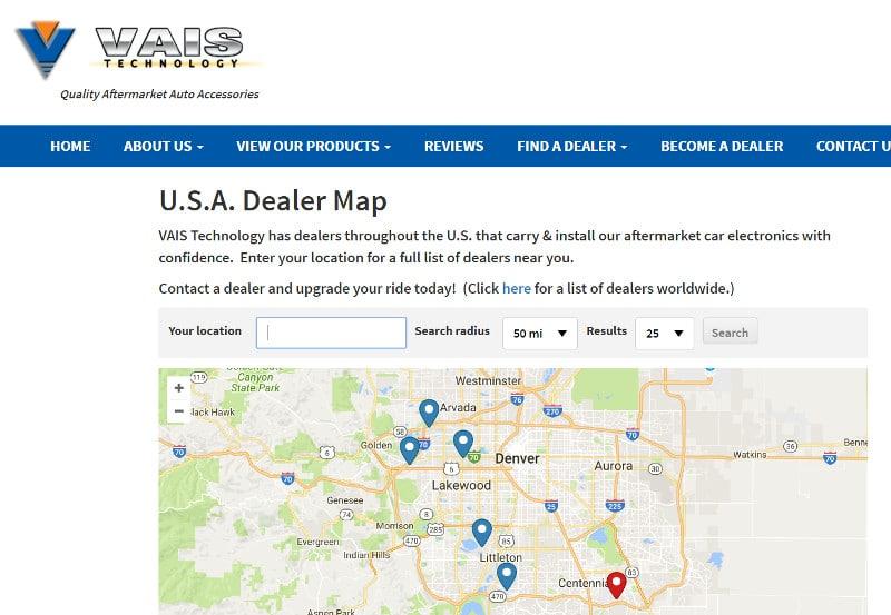 Dealer map page