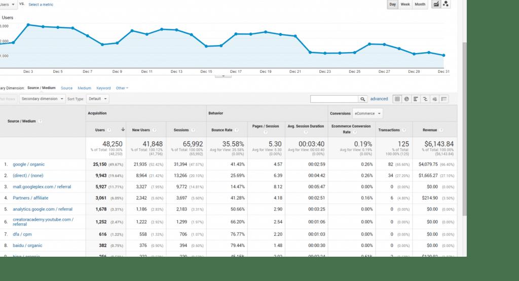 Analytics traffic and revenue by source medium