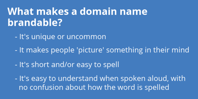 What makes a domain name brandable