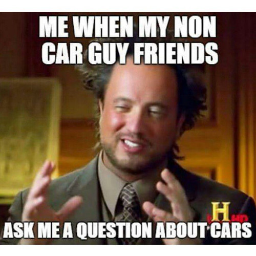 Guy looking intense while offering an answer to a car question