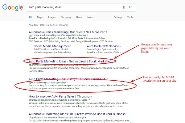 example of SEO results on Google