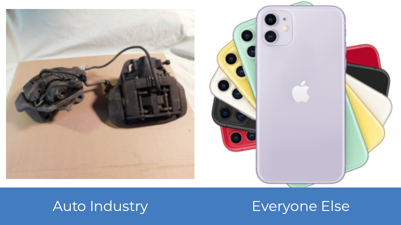 Comparing product photography between the parts and accessories industry and other consumer product industries.